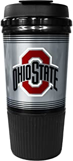 GameDay Novelty NCAA Ohio State Buckeyes Insulated Platinum Gripper Travel Tumbler with No Spill Flip Lid, 16 oz