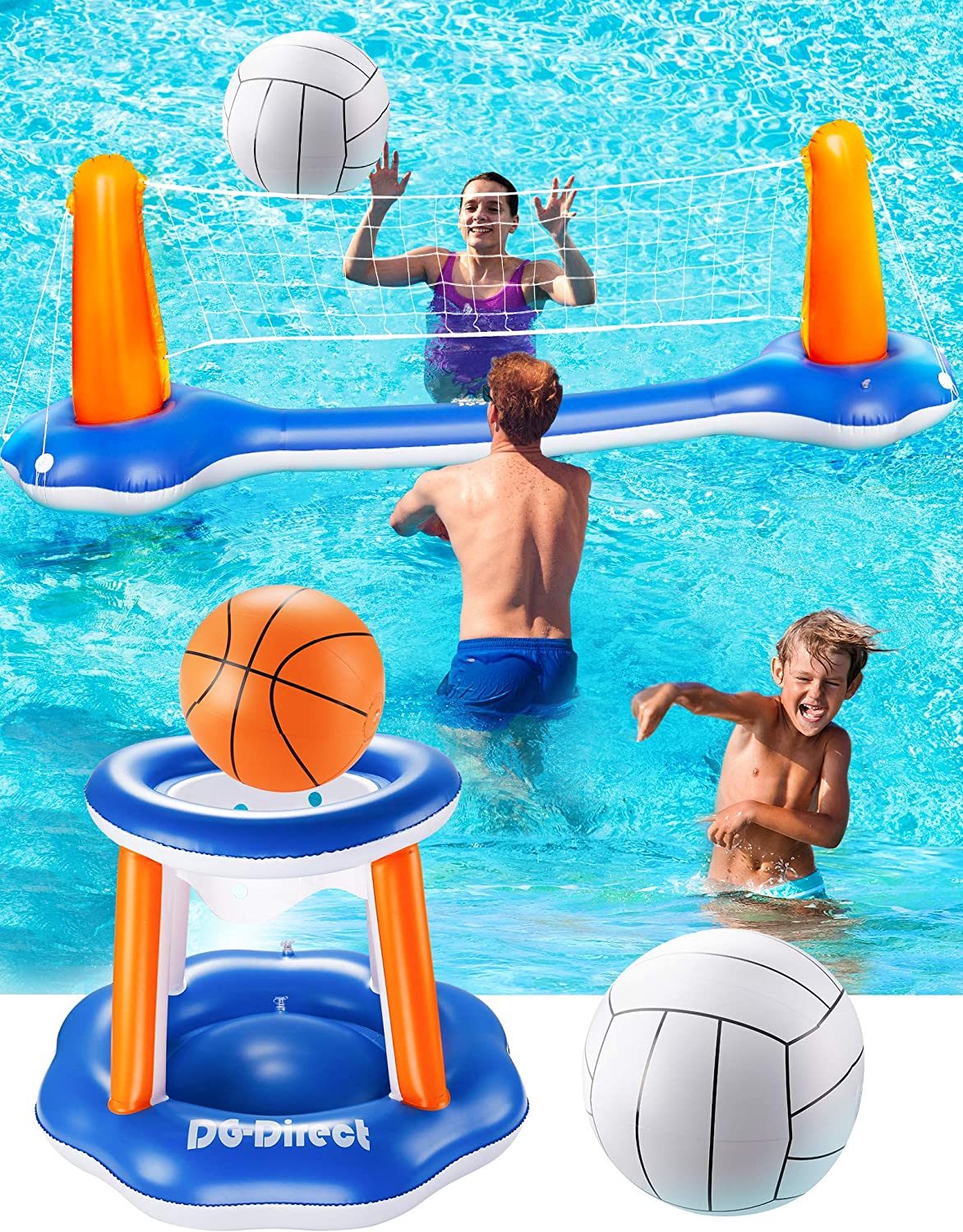 """DG-Direct Inflatable Pool Game Set, 118"""" Inflatable Volleyball Net Basketball Hoop and Balls Set for Kids & Adults, Swimming Game Toys Summer Floats for Water Sports Pool Party-118 x37.4""""x28"""": Toys & Games"""