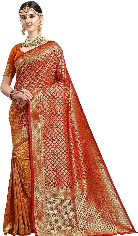 Indian Ethnic Junction Women's Kanchipuram Silk Woven Half and Half Sare With Blouse Piece Saree