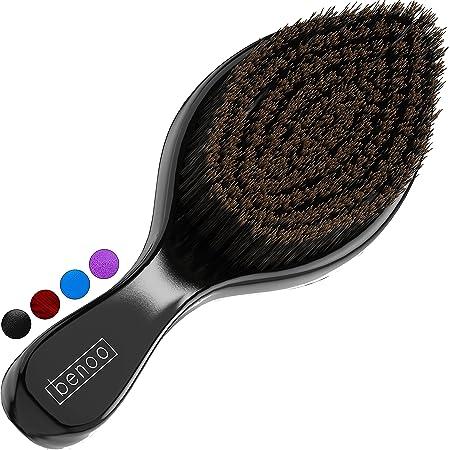 Benoo Wave Brush (Black) - Medium Boar & Nylon All Stages 360 Wave Brush For Men 360, Curved Medium Wave Brush, Nylon & Boar Bristle Hair Brush, Works with Durag and Wave Cap