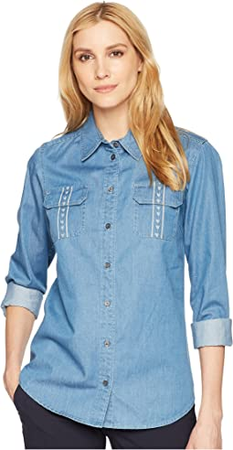 Embroidered Cotton Chambray Shirt