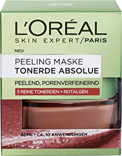 """L""""Oréal Paris Tonerde Absolue Peeling Maske, Gesichtsmaske mit reiner Tonerde und Rotalgen-Extrakt, reinigt intensiv, verfeinert Poren und glättet den Teint, 50ml"""