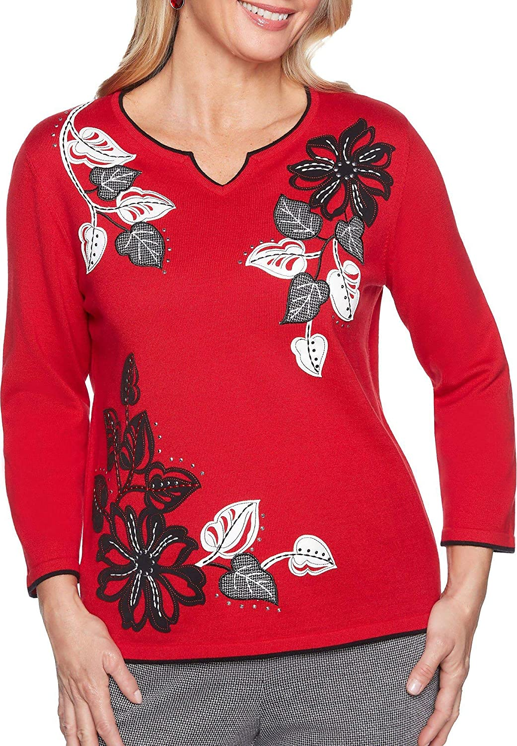 Alfred Dunner Womens Petite Applique Novelty Floral Sweater with Notch V Neck Sweater