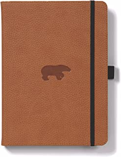 Dingbats Wildlife Squared Hardcover Notebook - PU Leather, Perforated 100gsm Ink-Proof Paper, Pocket, Elastic Closure, Pen Holder, Bookmark (Brown Bear, Medium A5+ (6.3 x 8.5))