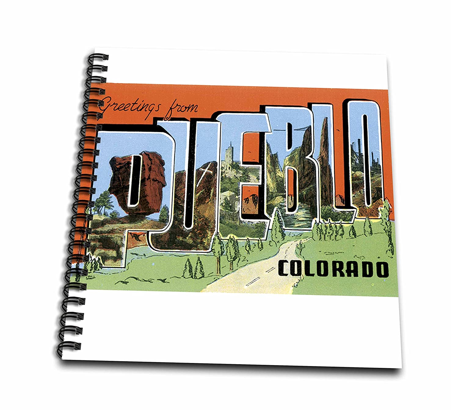 3dRose db_160734_1 Greetings From Pueblo Colorado with Bold Letters and Scenes of Pueblo Drawing Book, 8 by 8-Inch