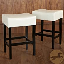 Christopher Knight Home Duff Backless Ivory Leather Counter Stools (Set of 2)