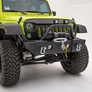Restyling Factory -Stubby Rock Crawler Front Bumper With OE Fog Light Hole & Built In Winch Plate & 2x D-Ring -Textured Black for 07-17 Jeep Wrangler JK