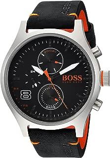 Men's Amsterdam Stainless Steel Quartz Watch with Leather Calfskin Strap, Black, 22 (Model: 1550020)