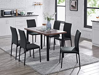 IDS Online Style 7 Pieces Dining Room Set for 6 People, Walnut Look Table Top with Comfortable High Back Chair, 51.18 X 27.5 X 29.5, 35.6 X 20.5 X 16.5, Black