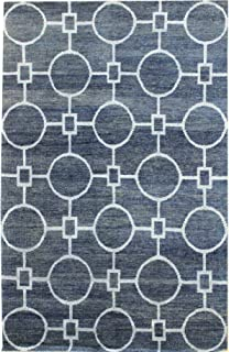 Landry & Arcari Elysia Collection J36940 Hand-Woven Slate & Grey Modern Geometric Pattern Wool Area Rug 2 feet by 3 Feet (2x3)