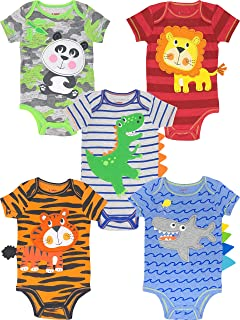 Funstuff Unisex Baby 5 Pack Bodysuits - Animals, Sports and Job Themes