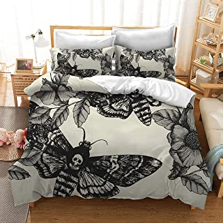 3D Digital Printing Death Moth and Flower Cream 100% BRUSHED MICROFIBER Bedding 3pc Duvet Cover Sets Queen size
