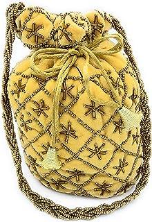 ADORA FASHION INDIAN HANDMADE POTLI/POUCH/CLUTCH ROUND SHAPE BAG FOR WOMEN ADORA ACI 109 YELLOW