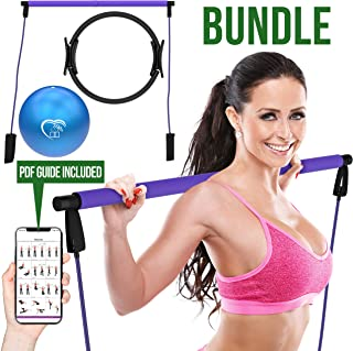 Love At Home Superior Workout Set - Pilates Bar, Pilates Ring, Pilates Ball - Yoga, Stretching, Arms, Leg, Abs Training-Fu...