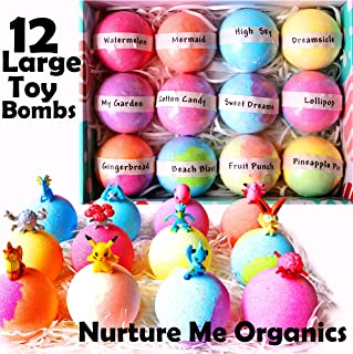 Kids Bath Bombs Gift Set. 12 Large Bath Bombs with Surprise Inside. Make Bathtime Fun with Bath Bombs for Kids with Toys Inside! Great Birthday Gift box for Boys & Girls
