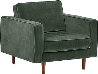 Amazon Brand – Rivet Aiden Tufted Mid-Century Modern Velvet Accent Chair, 35.4W, Hunter Green
