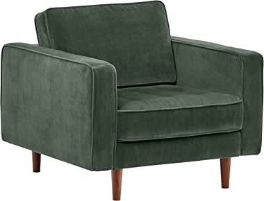 "Amazon Brand – Rivet Aiden Tufted Mid-Century Modern Tufted Velvet Accent Chair, 35.4""W, Hunter Green"