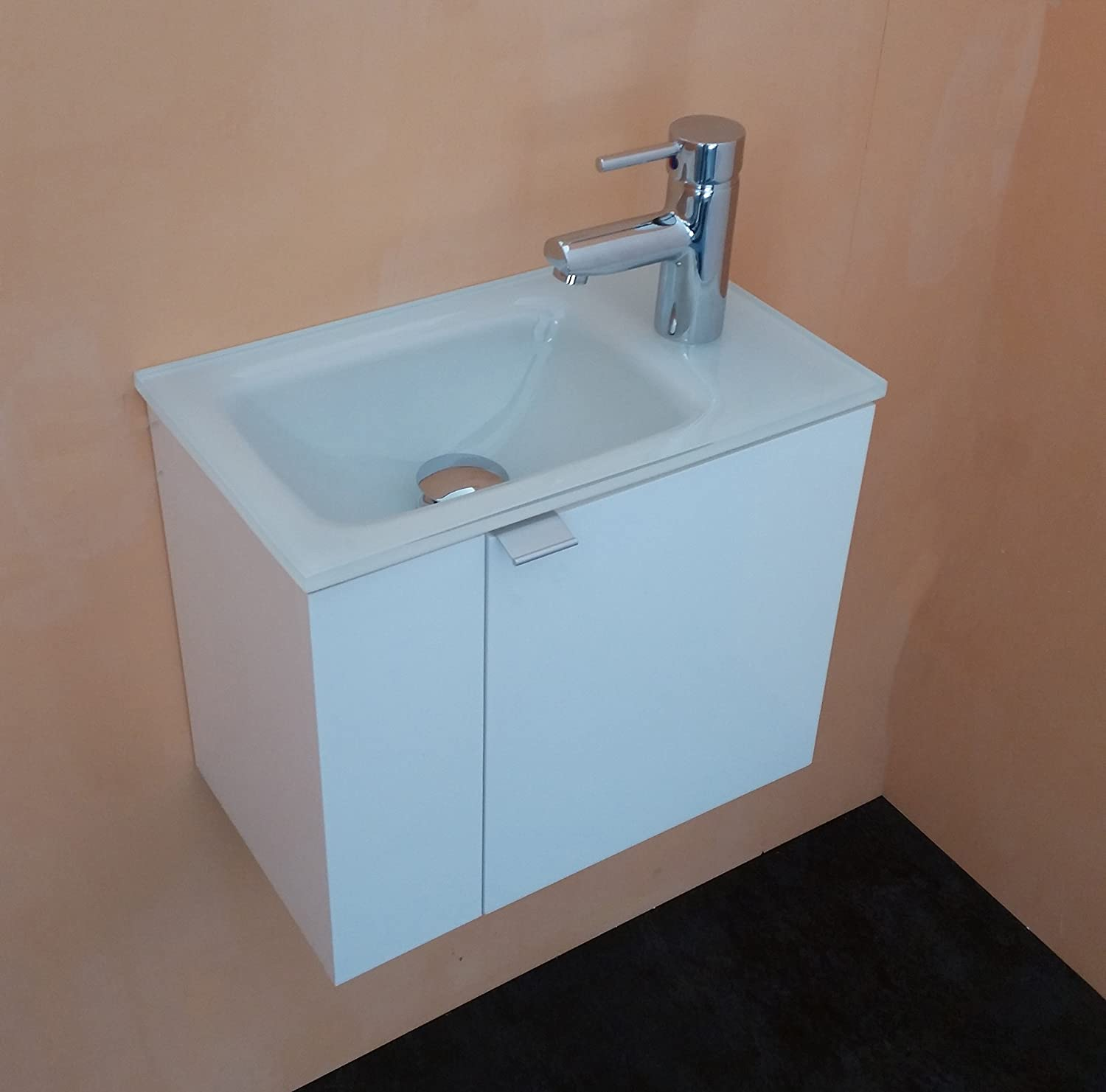 BATHROOMITALSTYLE Mobile bathroom bathroom furniture from 43?cm with Glass Basin Sink Handwash Extra-Light White