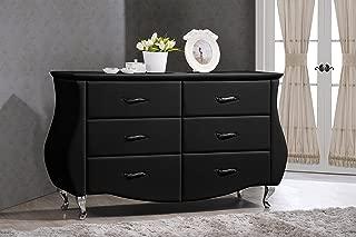 Baxton Studio Enzo Modern & Contemporary Faux Leather 6-Drawer Dresser, Medium, Black