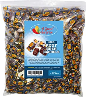 Dad's Root Beer Barrels - Washburn Hard Old Fashioned Candy Individually Wrapped, 4 LB Bulk Candy