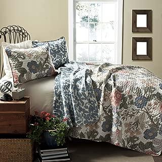 Lush Decor Sydney Quilt Floral Leaf Print 3 Piece Reversible Bedding Set, King, Green Blue
