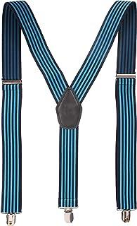 Peluche Flemish Stripes Blue Coloured 3cm Strap Width Elastic Suspenders for Men