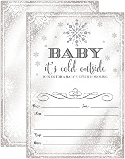 Baby It's Cold Outside Invite - Snowflake Baby Shower Invitation - Christmas Winter Wonderland Baby Shower Invites, 20 Fill in Invitations and Envelopes