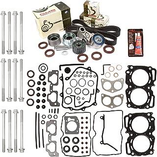Evergreen HSHBTBK9009MLS MLS Head Gasket Set Head Bolts Timing Belt Kit Fits 99-03 Subaru 2.5 SOHC EJ251 EJ252