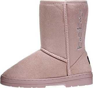 bebe Girls Winter Boots Designed with Side Logo Embroidery Casual Warm Slip-On Mid-Calf Microsuede Walking Snow Flat Shoes