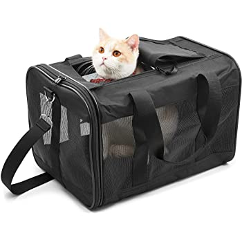 ScratchMe Pet Travel Carrier Soft Sided Portable Bag for Cats, Small Dogs, Kittens or Puppies, Collapsible, Durable, Airline Approved, Travel Friendly, Carry Your Pet with You Safely and Comfortably