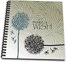 3dRose db_63555_1 Inspired Teal Make a Wish Dandelion Flowers-Drawing Book, 8 by 8-Inch