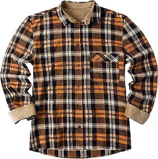 Mens Plaid Flannel Shirt Checked Shirt Long Sleeve Corduroy Lined Thermal Shirt Winter Buffalo Shirts