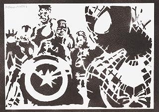 Poster Spiderman y los Vengadores Grafiti Hecho a Mano - Handmade Street Art - Artwork