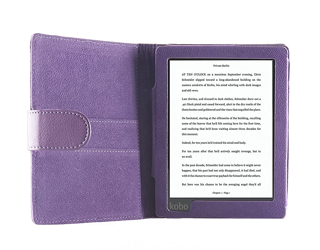 The original ODYSSEY Premium Case for Kobo Aura with auto 'Wake-Up/Sleep' function in the color blue with magnetic closure.
