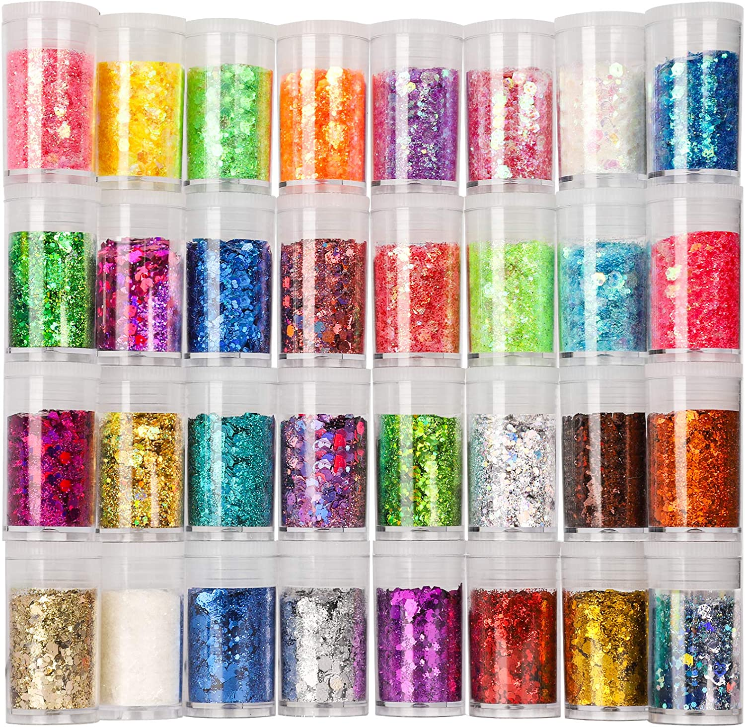 Festival Chunky and Fine Glitter Mix, Teenitor 32 Colors Chunky Sequins & Fine Glitter Powder Mix, Iridescent Glitter Flakes, Cosmetic Face Body Eye Hair Nail Art Resin Tumbler Glitter Loose Glitter : Beauty & Personal Care