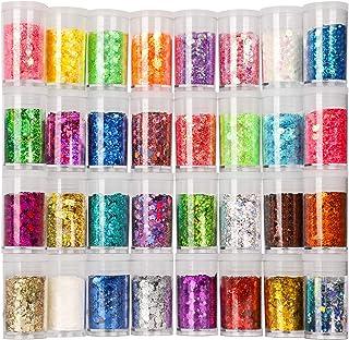 Festival Chunky and Fine Glitter Mix, Teenitor 32 Colors Chunky Sequins & Fine Glitter Powder Mix, Iridescent Glitter Flak...