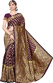 Peacock Fashion Women's Banarasi Silk Saree With Blouse Piece (Mnrk_s025, Purple)