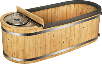 ALEKO 2-Person Pine Hot Tub with Charcoal Stove Boiler , 500 lts.