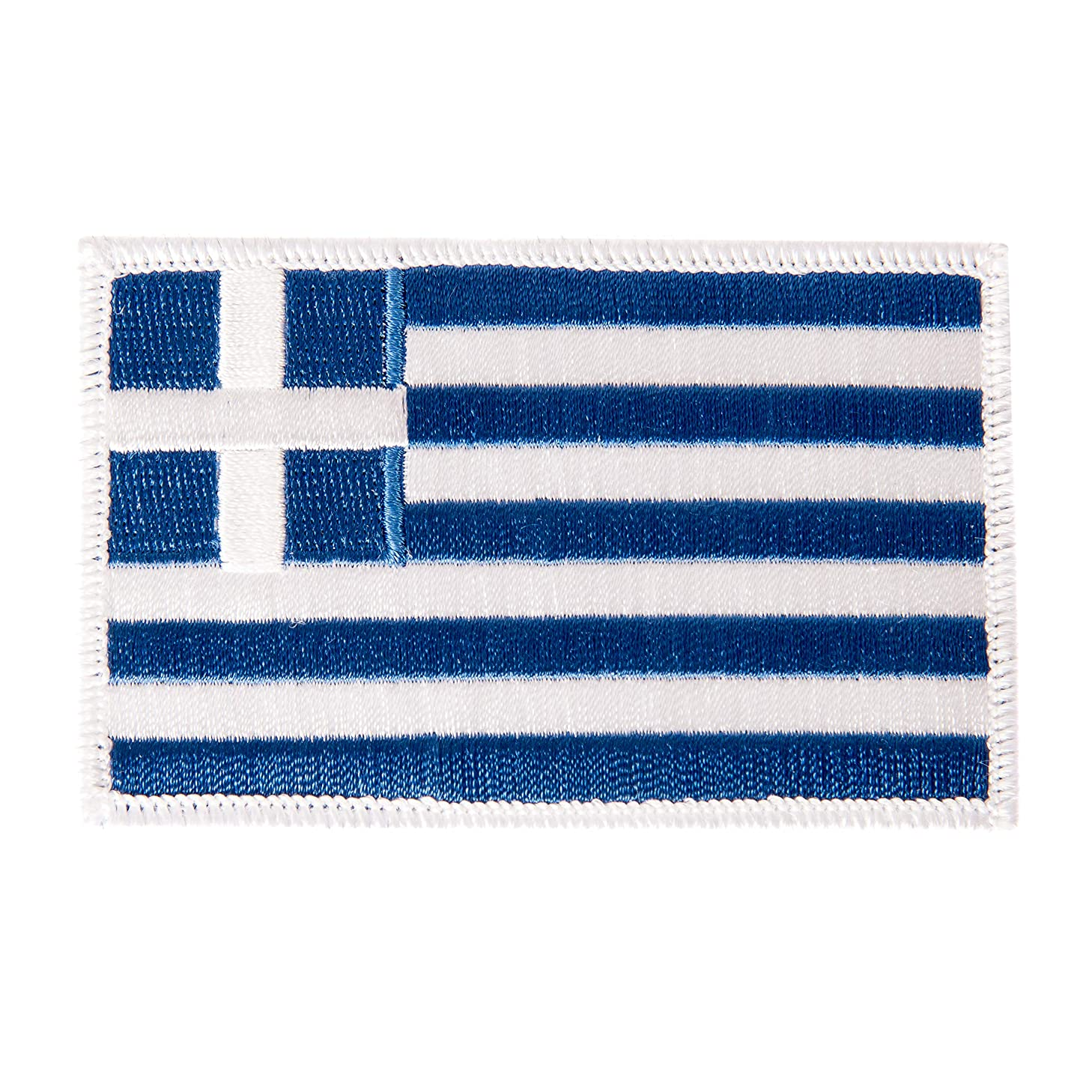 Greece Flag Patch Single 3.5Wx2.25H Iron On Sew Embroidered Tactical Morale Back Pack Hat Bags (Single Patch)