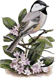 Massachusetts State Bird and Flower Black-capped Chickadee and Mayflower Counted Cross Stitch Pattern