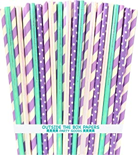Mermaid Party Supply - Lilac Lavender Blue Green Paper Foil Drinking Straws - 7.75 Inches - 100 Pack