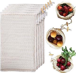 Reusable Produce Bags Organic Cotton - Grocery Mesh Produce Bags, Refrigerator, & Bulk Storage - Washable Knit Vegetable B...