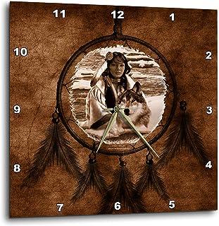 3dRose dpp_52256_3 ブラウン ネイティブアメリカン ウルフ マーティン・バスマイアンの絵画 15×15インチ