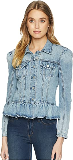 Denim Jacket with Ruffle Detail in Situationship