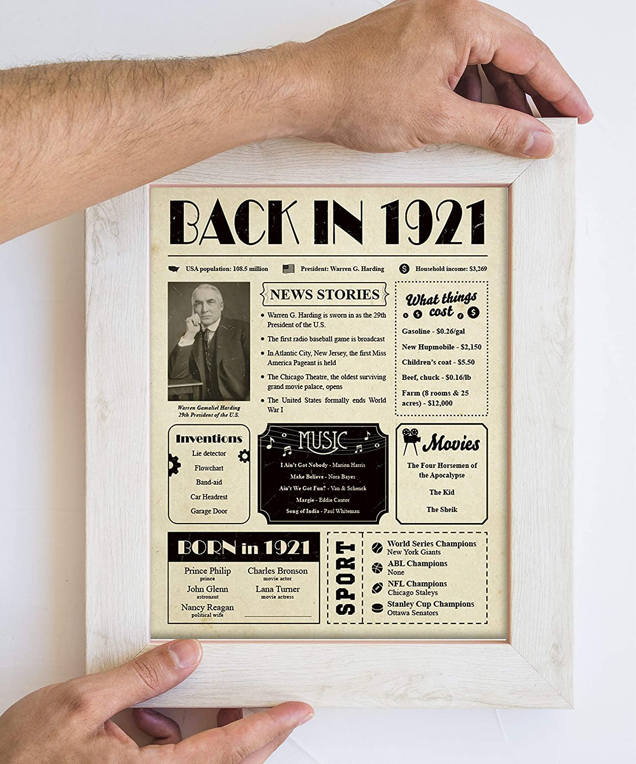 Birthday Decorations Vintage for Grandma and Grandpa Paintio Back in 1920 Poster Unframed 8x10-100th Birthday Gifts for Women and Men Gift Ideas for 100 Years Old Man and Woman Under 10 Dollars