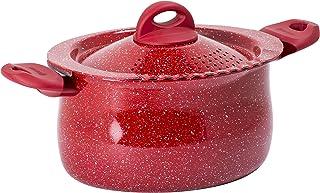 "Bialetti Madame Rubino Induction Pasta Pot Universal, 10.24"", Grey/Red"
