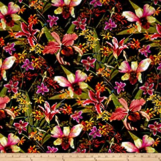 Hoffman Fabrics Raving Tides Digital Tropical Foliage Fabric by The Yard, Black
