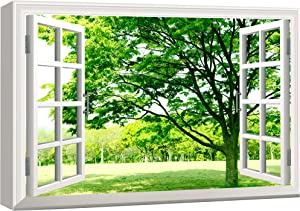 wall26 Canvas Print Wall Art Window View of Field of Green Flowers Nature Wilderness Photography Realism Rustic Scenic Colorful Relax/Calm Ultra for Living Room, Bedroom, Office - 24