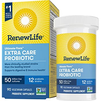 Renew Life Adult Probiotics 50 Billion CFU Guaranteed, Probiotic Supplement, 12 Strains, For Men & Women, Shelf Stable, Gluten Dairy & Soy Free, 90 Capsules, Ultimate Flora Extra Care
