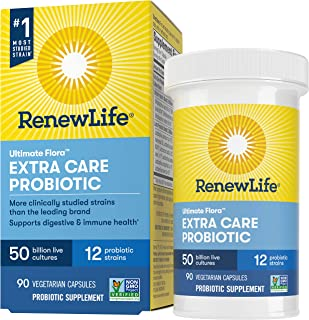 Renew Life Adult Probiotics 50 Billion CFU Guaranteed, 12 Strains, For Men & Women, Shelf Stable, Gluten Dairy & Soy Free,...